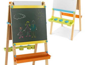 KidKraft - chevalet de dessin en bois pour enfant avec roulea - Tableau D'�cole Tryptique