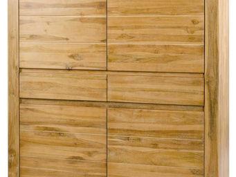 ZAGO - armoire 4 portes 2 tiroirs en teck massif blanchi - Armoirette