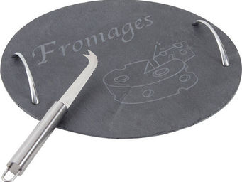 BARCLER - plateau � fromages en ardoise et anses en m�tal 30 - Plateau � Fromage
