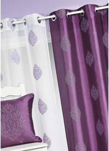 HOMEMAISON.COM - rideau en shantung imprim� feuilles - Rideaux � Oeillets