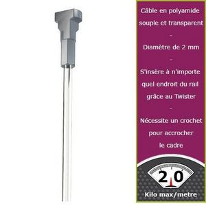 DECOHO - 150 cm perlon embout twister newly - Tringle D'accrochage Tableau