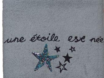 SIRETEX - SENSEI - serviette 50x90cm brodée 500 gr/m² star gris - Serviette De Toilette Enfant