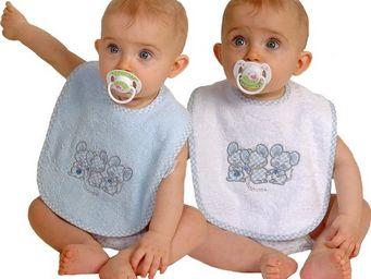 SIRETEX - SENSEI - bavoir bébé scratch brodé 3 souris bleue - Bavoir