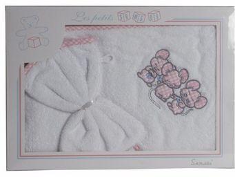 SIRETEX - SENSEI - coffret cape de bain+ gant brodés 3 souris roses - Cape De Bain