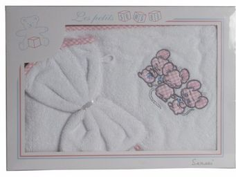SIRETEX - SENSEI - coffret cape de bain+ gant brod�s 3 souris roses - Cape De Bain