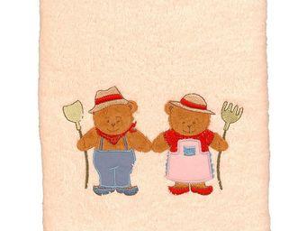 SIRETEX - SENSEI - serviette de toilette brodée ours fermier - Gant De Toilette