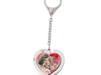 Orval Creations - porte-sac coeur avec cha�nette th� � la rose - Accroche Sac