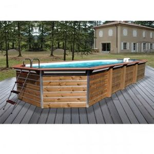 Christaline - piscine bois octogonale allonge classique gold 890 - Piscine Hors Sol Bois