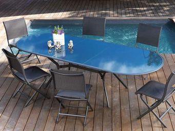 PROLOISIRS - salon 6 places bilbao en aluminium et textil�ne ro - Salle � Manger De Jardin