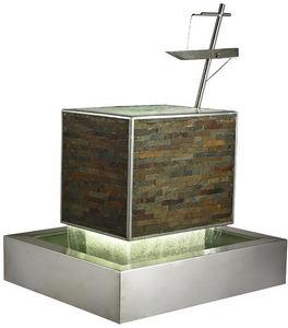 Cactose - fontaine balance en pierre de schiste et inox 116x - Fontaine Centrale D'extérieur