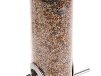 ZOLUX - silo à graines pour oiseaux inox brossé 2 fenêtres - Mangeoire À Oiseaux