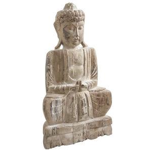 Aubry-Gaspard - statue bouddha assis en bois 33x18x58cm - Statuette