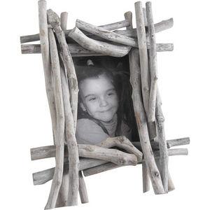 Aubry-Gaspard - cadre photo en bois flotté et verre 32x10x40cm - Cadre Photo