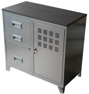 PIERRE HENRY - meuble bureau métal 1 porte 3 tiroirs aluminium - Armoire De Bureau