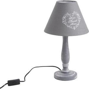 Aubry-Gaspard - lampe home sweet home grise en bois 22,5x40cm - Lampe À Poser