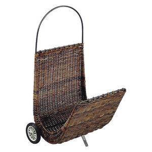 Aubry-Gaspard - chariot à bûches en poelet croco sur roulettes 48x - Porte Buches