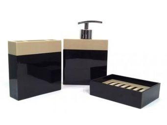 Cm - pot de salle de bain design - couleur - noir - Accessoire De Salle De Bains (set)