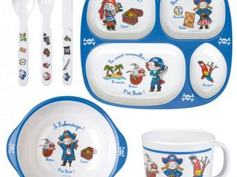 La Chaise Longue - coffret 6 pieces m�lamine pirates - Assiette B�b�