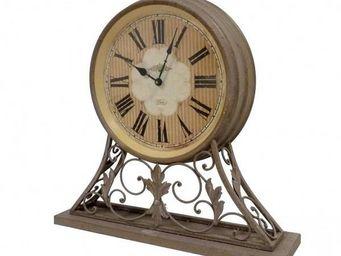 L HERITIER DU TEMPS - horloge en m�tal effet rouille - Horloge � Poser