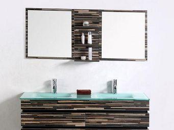 UsiRama.com - ensemble meuble salle de bain bois camouflage 1.4m - Meuble Double Vasque
