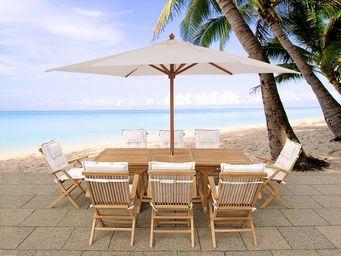 BELIANI - table, 8 chaises avec coussins beige, parasol - Salle À Manger De Jardin