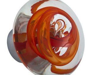 Les Verreries De Brehat - tubes de bulles disque rouge chili - Bouton De Porte