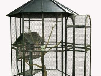 Demeure et Jardin - grande voli�re en fer forg� - Cage � Oiseaux