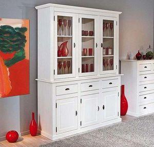 WHITE LABEL - vaisselier cassala en pin massif 3 tiroirs et 6 po - Buffet Deux Corps