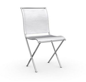 Calligaris - chaise pliante design air folding blanche et acier - Chaise Pliante
