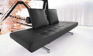 INNOVATION - canapé lit design ghia noir convertible 90*210cm - Banquette Clic Clac