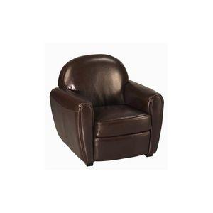 DECO PRIVE - fauteuil club en cuir by cast colori marron choco - Fauteuil Club