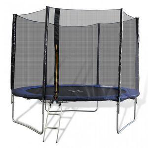 WHITE LABEL - trampoline 10' 3 pieds + filet de sécurité - Trampoline