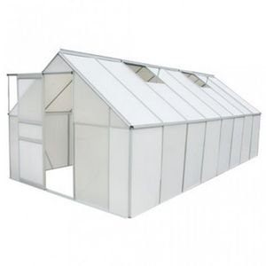 WHITE LABEL - serre de jardin polycarbonate 12,25 m² - Serre