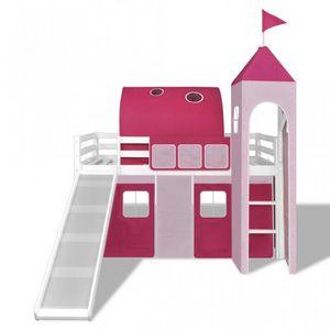 WHITE LABEL - lit mezzanine blanc avec échelle toboggan et déco rose - Lit Enfant