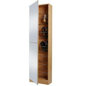 WHITE LABEL - meuble armoire à chaussure bois miroir - Meuble À Chaussures