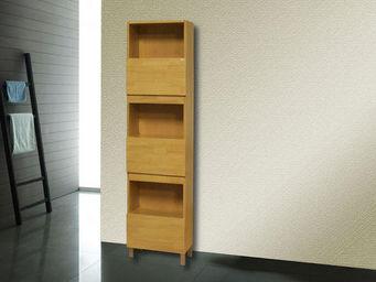 UsiRama.com - colonne de salle de bain design 182cm bois - Colonne De Rangement Simple De Salle De Bains