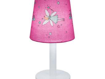 Trousselier - fee - lampe de chevet blanc/rose h30cm | lampe � p - Lampe De Chevet