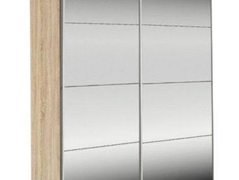 WHITE LABEL - dressing kick 152cm miroir et cadre chene avec por - Armoire À Portes Coulissantes