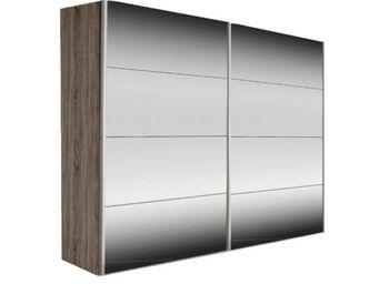 WHITE LABEL - dressing kick 252cm miroir et cadre chene fonce av - Armoire � Portes Coulissantes