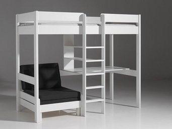 WHITE LABEL - lit mezzanine avec fauteuil pino en pin vernis bla - Lit Mezzanine