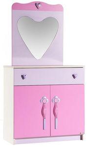 WHITE LABEL - commode pour enfant avec miroir coloris rose - Commode Enfant