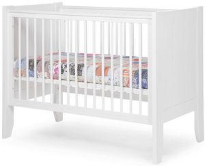 WHITE LABEL - lit b�b� � barreaux 60x120cm coloris blanc - Lit Pliant B�b�