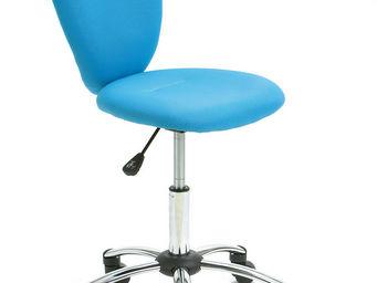 WHITE LABEL - chaise de bureau pour enfant pivotante coloris ble - Chaise De Bureau