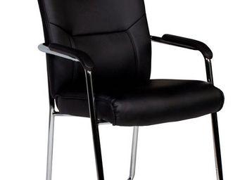 WHITE LABEL - chaise noir et acier chrom� ultra moderne - Chaise De Bureau