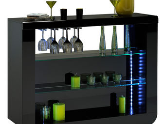 WHITE LABEL - meuble bar noir laqué design led - Meuble Bar