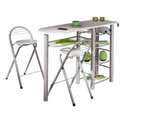 COMFORIUM - set de 2 tabourets et table haute blanc design - Table De Cuisine