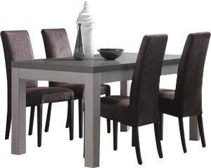 COMFORIUM - table en bois et gris laqué 160 cm + 4 chaises en  - Salle À Manger