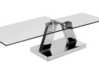 WHITE LABEL - table basse design twin glass à double plateaux pi - Table Basse Avec Plateau