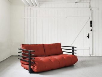 WHITE LABEL - canapé convertible noir funk futon rouge couchage - Lit D'appoint Gonflable