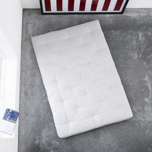 WHITE LABEL - matelas futon traditionnel écru 160*200cm - Futon